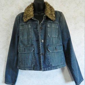 American Eagle Distressed Ladies Jean Jacket Med